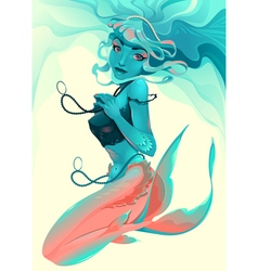Portrait of a mermaid vector
