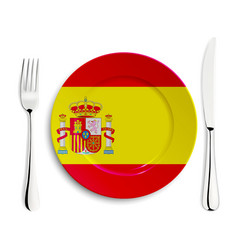Plate with flag of spain vector