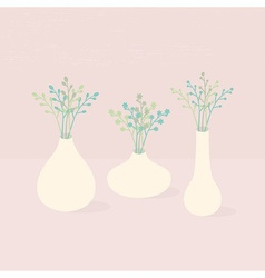 Set of three different vases with wild flowers vector