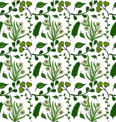 Seamless pattern of green plants vector