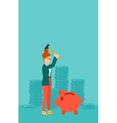 Woman breaking piggy bank vector