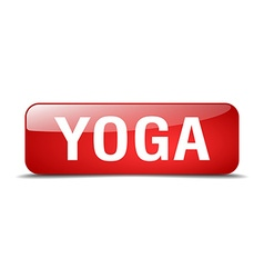 Yoga red square 3d realistic isolated web button vector