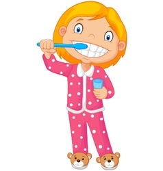 A Young Girl Brushing Her Tooth vector image