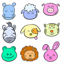 animal head colorful doodle style vector image vector image