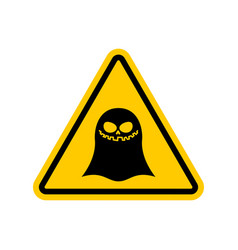 attention ghost dangers of yellow road sign spook vector image vector image
