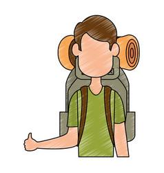 backpacker faceless cartoon vector image