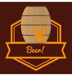 Beer barrel wooden wheats label brown background vector