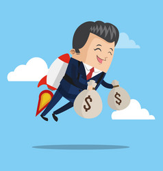 Businessman flying jetpack with money bags vector