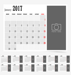 Calendar 2017 set design color vector