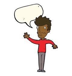 Cartoon worried man reaching out with speech vector