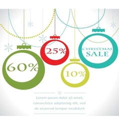 Christmas sale balls with snowflake vector