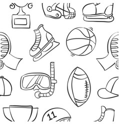Collection of sport equipment style doodles vector