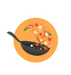 Cooking process flipping asian food in a pan vector