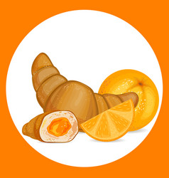 Croissant with orange icon vector
