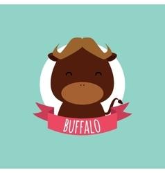 Cute cartoon buffalo vector