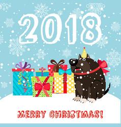 dog and presents 2018 christmas carda vector image vector image