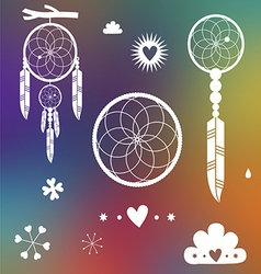 Dreamcatcher designs on blurred background vector