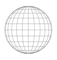 Front view of planet earth globe grid of meridians vector