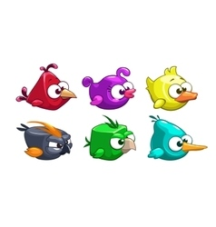 Funny cartoon crazy birds set vector