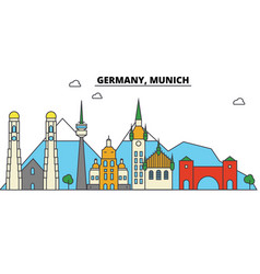 germany munich city skyline architecture vector image