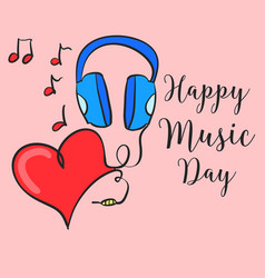 Happy music day card style vector