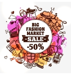 Hipster fashion clothing discount doodle icon vector image vector image