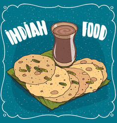 Indian round flatbread and masala chai tea vector