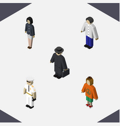 Isometric human set of girl lady detective and vector
