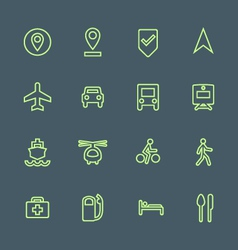 Light green outline various map navigation icons vector