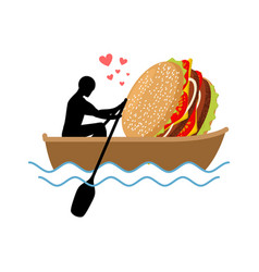 Lover fast food man and hamburger ride in boat vector