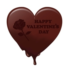 Melting chocolate heart with the words valentine s vector