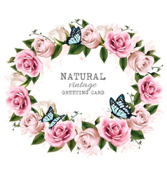 Natural vintage greeting frame with roses vector