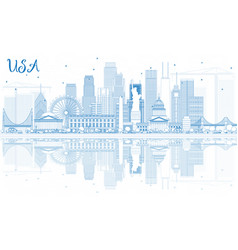 Outline usa skyline with blue skyscrapers and vector