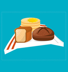 pas slice bread and breakfast food vector image