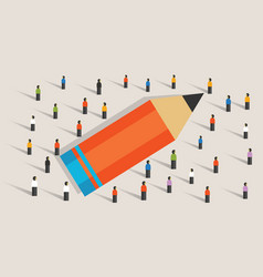 pencil concept of education crowd working together vector image