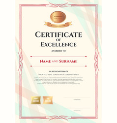 portrait certificate of excellence template on vector image