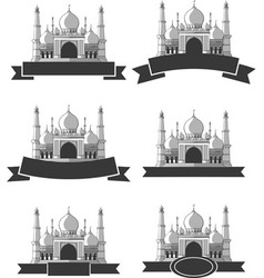 Ramadan eid mubarak greeting masjid banner vector