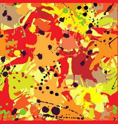 Red orange maroon ink paint splashes seamless vector