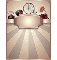 retro objects vertical background vector image vector image