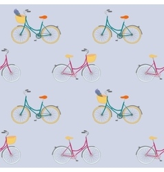 seamless pattern with colorful city bikes vector image