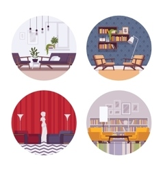 Set of retro interiors vector image