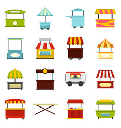 Street food truck icons set in flat style vector