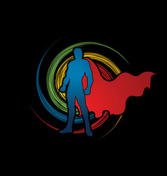 Super hero man standing graphic vector