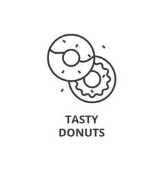 tasty donuts line icon outline sign linear vector image