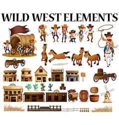 Wild west cowboys and buildings vector