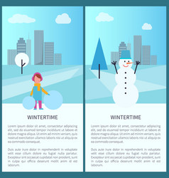 Wintertime banners collection vector