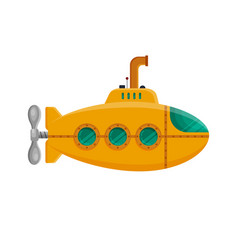 Yellow submarine with periscope isolated on white vector