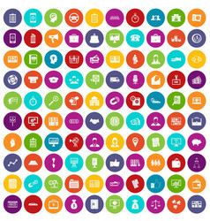 100 business group icons set color vector