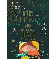 Card for lovely christmas with kissing couple and vector