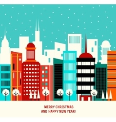 Christmas decoration with winter town vector